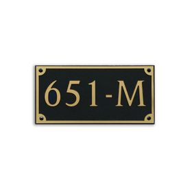 Medium Wall or Rock Rectangular Address Plaque Gold Black