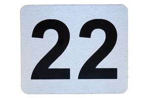 Number Plate: Metal Adhesive w/ Black Numbering (Specify # Required 17 - 999)