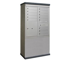 Outdoor Mailbox Kiosk - 13 Tenant Doors with 1 Parcel Locker - USPS Approved