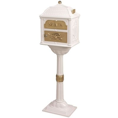 Classic Pedestal Mailbox Package - White with Polished Brass
