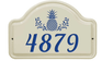 Whitehall Pineapple Ceramic Arch - One Line Standard Wall Plaque - Dark Blue