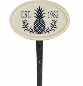 Whitehall Pineapple Ceramic Oval - One Line Petite Lawn Address Sign - Black