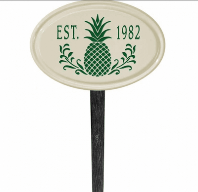 Whitehall Pineapple Ceramic Oval - One Line Petite Lawn Address Sign - Green
