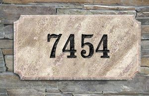 "Executive ""Cut Corner"" Rectangle Solid Granite Address Plaque with Engraved Text (Choose Granite Color)"