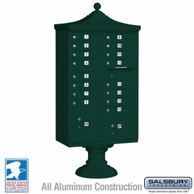 Salsbury 3316R-GRN-U 16 Door Regency Decorative Cluster Mailbox Green