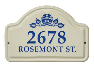 Whitehall Rosette Ceramic Arch - Two Line Standard Wall Plaque - Dark Blue