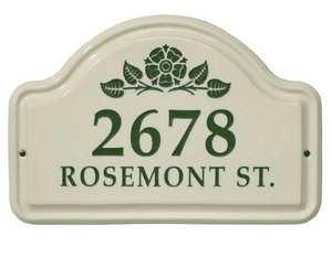 Whitehall Rosette Ceramic Arch - Two Line Standard Wall Plaque - Green