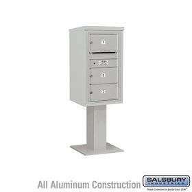 Salsbury 3408S-03GRY 4C Pedestal Mailboxes 3 Tenant Doors