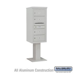 Salsbury 3410S-04GRY 4C Pedestal Mailboxes 4 Tenant Doors