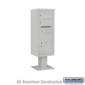 Salsbury 3412S-02GRY 4C Pedestal Mailboxes 2 Tenant Doors