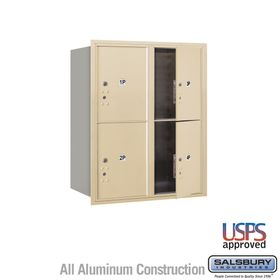 Salsbury 3710D-4PSFU 4C Mailboxes 4 Parcel Lockers Front Loading