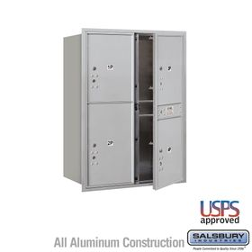 Salsbury 3711D-4PAFU 4C Mailboxes 4 Parcel Lockers Front Loading