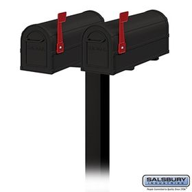 Salsbury 4850BK-9582 Two Heavy Duty Rural Mailboxes with  In-Ground Post Black