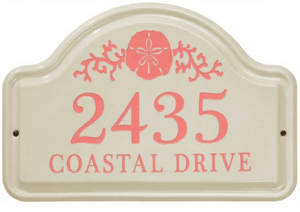 Whitehall Sand Dollar Ceramic Arch Standard Wall Plaque - Two Line - Coral