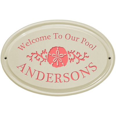 Whitehall Sand Dollar Ceramic Oval Standard Wall Plaque - One Line - Coral