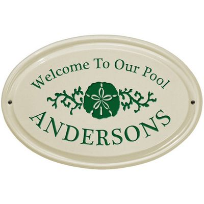 Whitehall Sand Dollar Ceramic Oval Standard Wall Plaque - One Line - Green