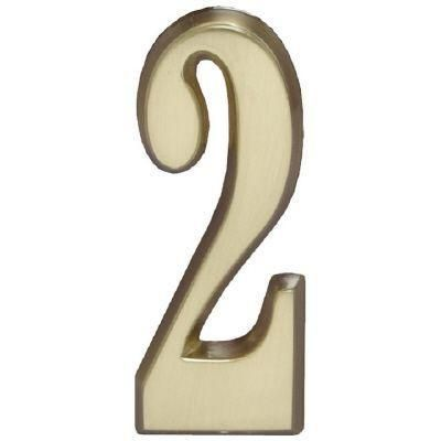 """Whitehall Satin Brass 4.75"""" House Address Numbers Number """"2"""""""