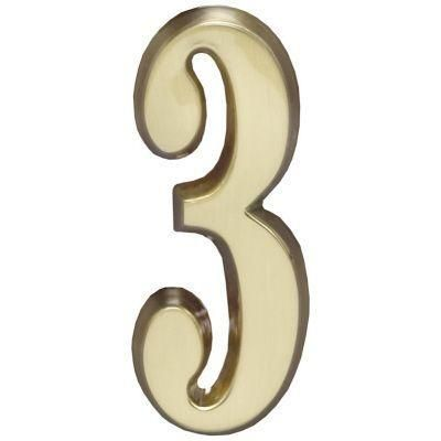 "Whitehall Satin Brass 4.75"" House Address Numbers Number ""3"""