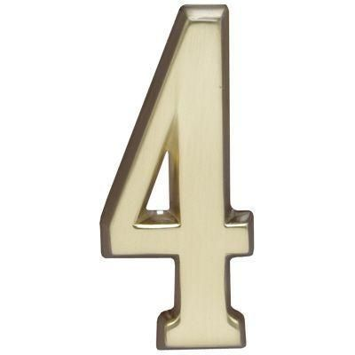 "Whitehall Satin Brass 4.75"" House Address Numbers Number ""4"""