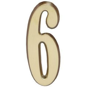 "Whitehall Satin Brass 4.75"" House Address Numbers Number ""6"""