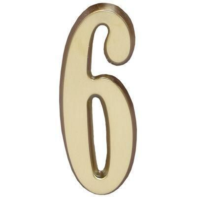 """Whitehall Satin Brass 4.75"""" House Address Numbers Number """"6"""""""