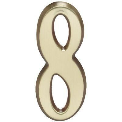 """Whitehall Satin Brass 4.75"""" House Address Numbers Number """"8"""""""