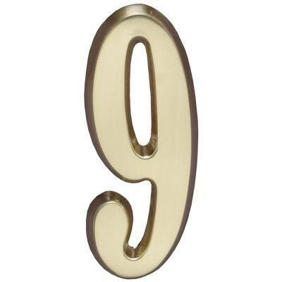 """Whitehall Satin Brass 4.75"""" House Address Numbers Number """"9"""""""