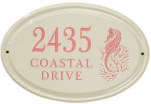 Whitehall Sea Horse Ceramic Oval - Standard Horizontal Wall Plaque - Three Line - Coral