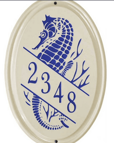 Whitehall Sea Horse Ceramic Oval - Vertical Standard Wall Plaque - One Line - Dark Blue