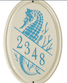 Whitehall Sea Horse Ceramic Oval - Vertical Standard Wall Plaque - One Line - Sea Blue