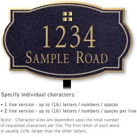 Salsbury 1440BGGL Signature Series Address Plaque