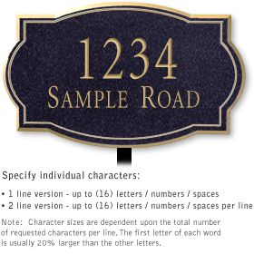 Salsbury 1440BGNL Signature Series Address Plaque