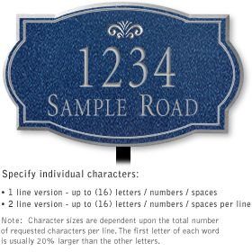 Salsbury 1440CSFL Signature Series Address Plaque