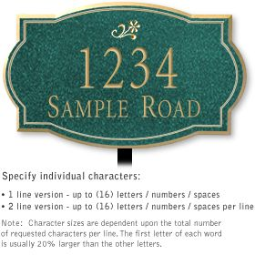 Salsbury 1440JGDL Signature Series Address Plaque