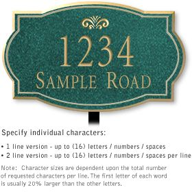 Salsbury 1440JGFL Signature Series Address Plaque