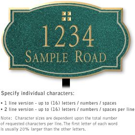 Salsbury 1440JGGL Signature Series Address Plaque