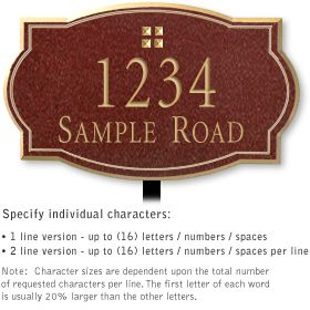 Salsbury 1440MGGL Signature Series Address Plaque
