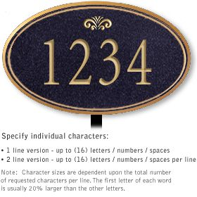 Salsbury 1431BGFL Signature Series Address Plaque