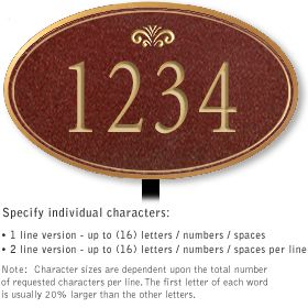 Salsbury 1431MGFL Signature Series Address Plaque