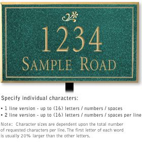 Salsbury 1412JGDL Signature Series Address Plaque