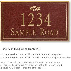Salsbury 1412MGFS Signature Series Address Plaque