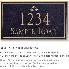 Salsbury 1411BGIS Signature Series Address Plaque