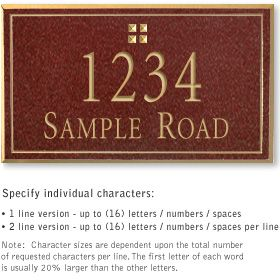 Salsbury 1411MGGS Signature Series Address Plaque