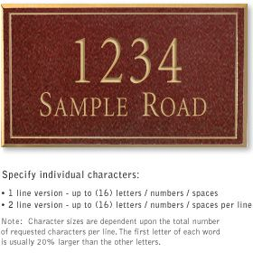 Salsbury 1411MGNS Signature Series Address Plaque