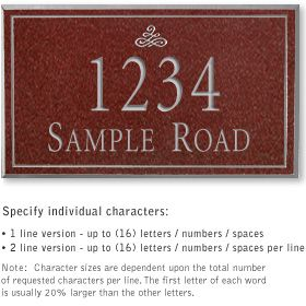 Salsbury 1411MSIS Signature Series Address Plaque