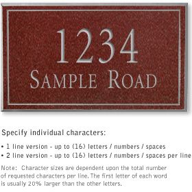 Salsbury 1411MSNS Signature Series Address Plaque