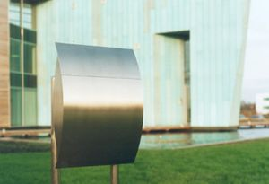 Stainless Steel Modern, Contemporary Capella Galaxy Mailbox and Mailbox Stand