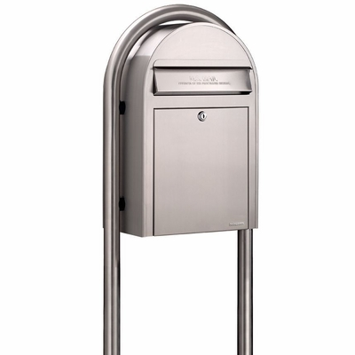 USPS Bobi Classic Stainless Steel Front Access Mailbox (Post Included)