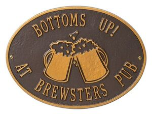 Standard Size Beer Mugs Hawthorne Wall Plaque - (2 Lines)