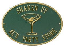 Standard Size Martini Hawthorne Wall Plaque - (2 Lines)